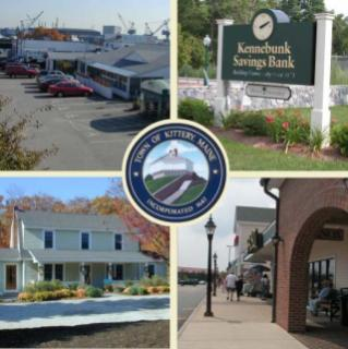 4 scenes of Kittery - prson walking down sidewalk, residential house, Kittery Bank sign, aerial view of cars parked at bldg.